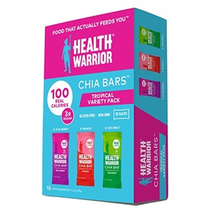 15 Count Health Warrior Chia Bars, Tropical Variety Pack, Gluten Free, Vegan, 25g Bars