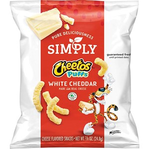36 Count Simply Cheetos Puffs White Cheddar Cheese Flavored Snacks